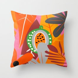 Watermelon in the jungle Throw Pillow