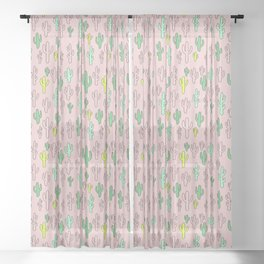 Green & Yellow Cactus on Pink Sheer Curtain