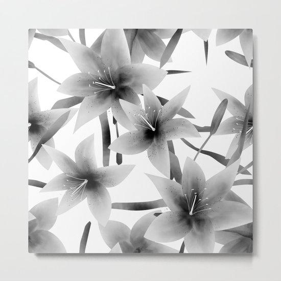 Lily. Black and white pattern . Metal Print