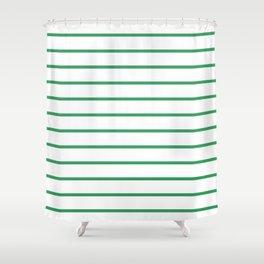Kelly Green Breton Stripes Shower Curtain
