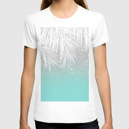 Modern tropical white palm tree silver glitter ombre on robbin egg blue turquoise T-shirt