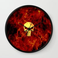 punisher Wall Clocks featuring PUNISHER SKULL FLAME by alexa