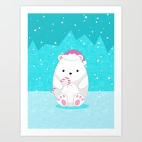 polar bear Art Prints featuring Polar bear by eDrawings38