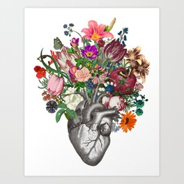 Anatomical heart and flowers Art Print