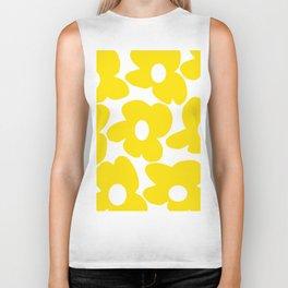 Large Yellow Retro Flowers on White Background #decor #society6 #buyart Biker Tank
