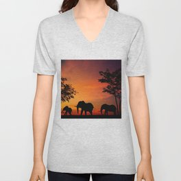 Elephants in the African sunset Unisex V-Neck
