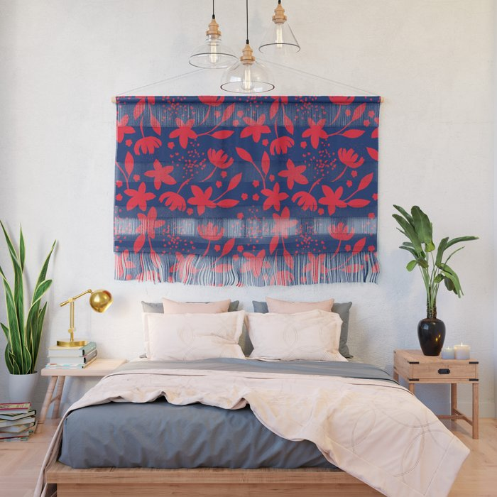 Little flowers blue and red Wall Hanging