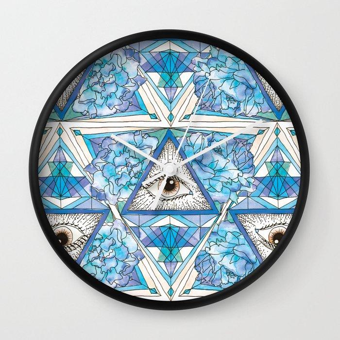 All Seeing Eye Blue Wall Clock By Abrunton Society6