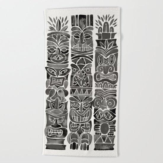 Tiki Totems – Black Beach Towel