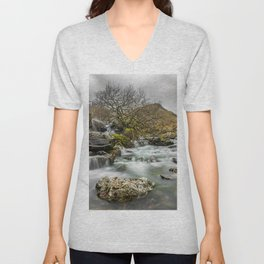 Lone Tree On The River Unisex V-Neck