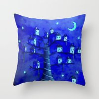 the neighbourhood Throw Pillows featuring New Moon In The Neighbourhood by FLYING TOWN