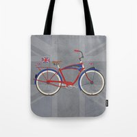 brompton Tote Bags featuring British Bicycle by Wyatt Design