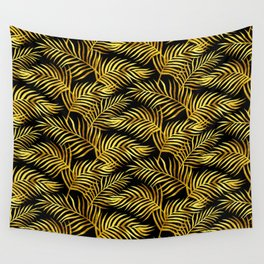 Palm Leaves_Gold and Black Wall Tapestry
