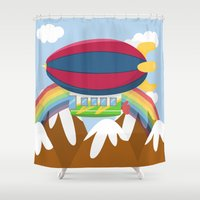 led zeppelin Shower Curtains featuring ZEPPELIN (AERIAL VEHICLES) by Alapapaju