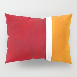 Burnt Red Yellow Ochre Mid Century Modern Abstract Minimalist Rothko Color Field Squares Pillow Sham