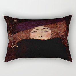 """Gustav Klimt """"Lady with Hat and Feather Boa"""" Rectangular Pillow"""