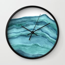 Watercolor Agate - Teal Blue Wall Clock