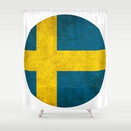 Sweden flag, circle Shower Curtain