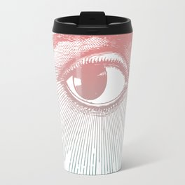 I See You. Pink Turquoise Gradient Sunburst Travel Mug