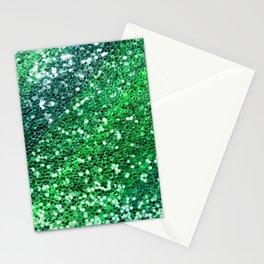 Glitter Sparkling Green Feminine Beautiful Pattern Stationery Cards