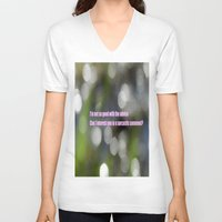 sarcasm V-neck T-shirts featuring Bokeh Sarcasm by Casey J. Newman