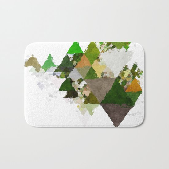 Spring Triangles - Fresh green and white triangle pattern - Greenery on #Society6 Bath Mat