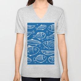 Fish blue white Unisex V-Neck