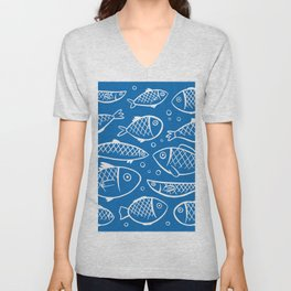 Fish blue white Unisex V-Neck