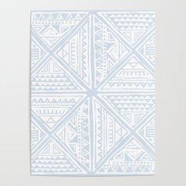 Simply Tribal Tile in Sky Blue on Lunar Gray Poster