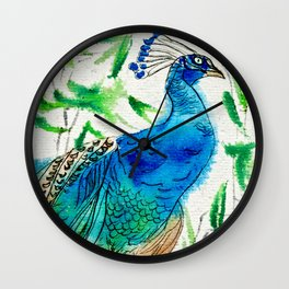 Perched Peacock I Wall Clock