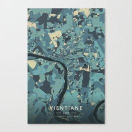 Vientiane, Laos - Cream Blue Canvas Print