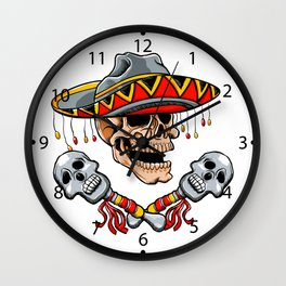 Skull Mexican style with sombrero and maracas Wall Clock