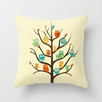 Throw Pillows featuring Owl Are Welcome by Jay Fleck