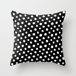 Minimal - white polka dots on black - Mix & Match with Simplicty of life Throw Pillow