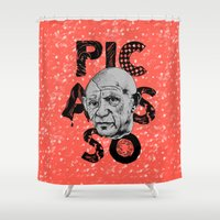 art history Shower Curtains featuring Pablo Picasso - History of Art by RJ Artworks