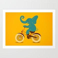 Elephant on the bike Art Print