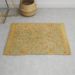 Floral Savonnerie 19th Century Authentic Colorful Rose Tulip Greenery Vintage Patterns Rug