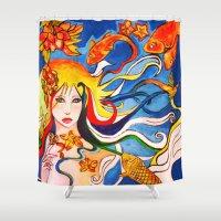 destiny Shower Curtains featuring Destiny by Ming Myaskovsky