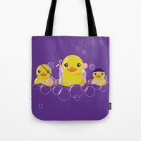 bathroom Tote Bags featuring DANGERS OF THE BATHROOM by ketizoloto