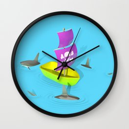 Circling Sharks Wall Clock