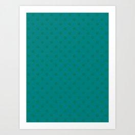 Cadmium Green on Teal Green Snowflakes Art Print