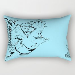 Greeting card with birds and a star with your text Rectangular Pillow