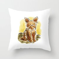 yorkie Throw Pillows featuring Yorkie by Renee Kurilla