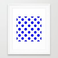 polka dots Framed Art Prints featuring Polka Dots (Blue/White) by 10813 Apparel