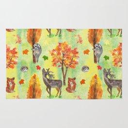 Woodland Watercolor animals Rug