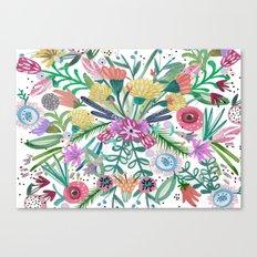 Flower burst, Illustration, print, art, pattern, floral, flowers, colour, painting, design, Canvas Print