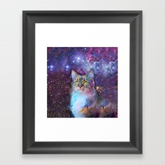 Proud Cat With Space Background                                                                   Framed Art Print