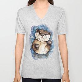 Watercolor Otter Unisex V-Neck