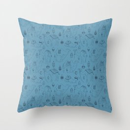 Linocut Camels No. 3 in Blue Throw Pillow