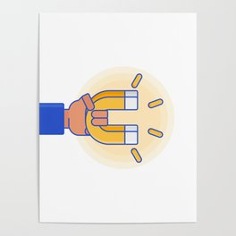 hand with magnet Poster